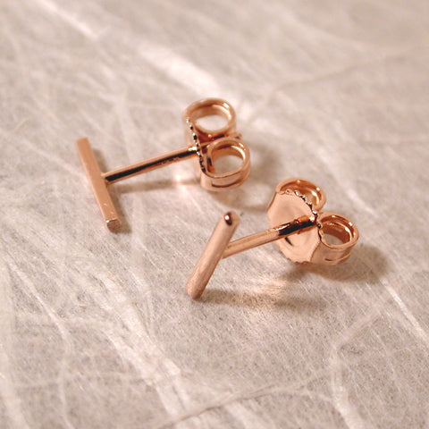 14k rose gold bar earrings 7mm