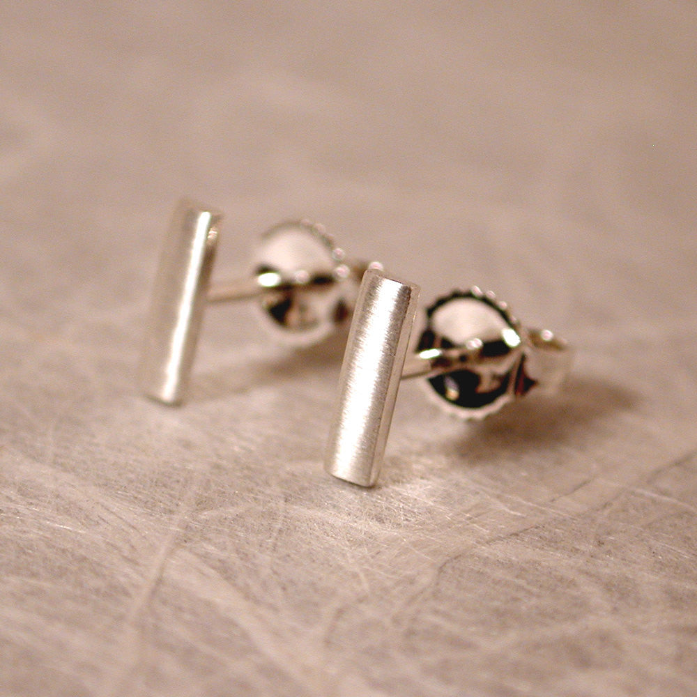 7mm Brushed Silver Bar Earrings Modern Silver Studs