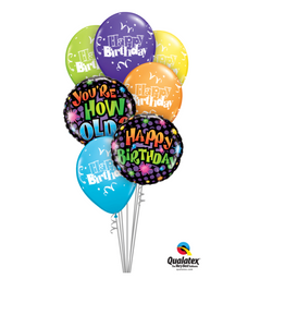 Bouquet of colourful Happy Birthday Balloons and one You're How Old? - Gifts2remember