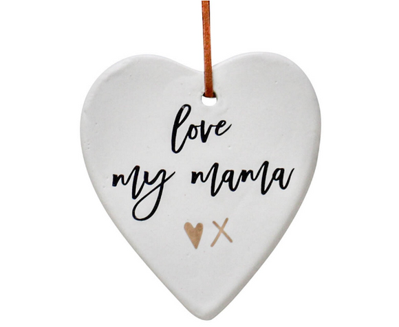 Love You Mama Hanging Ceramic Heart - Gifts2remember