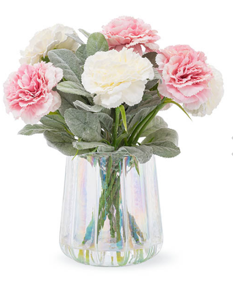 Artificial Carnation Flower Vase Arrangement