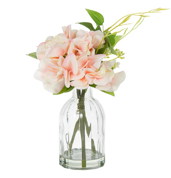 HYDRANGEA IN GLASS VASE PINK