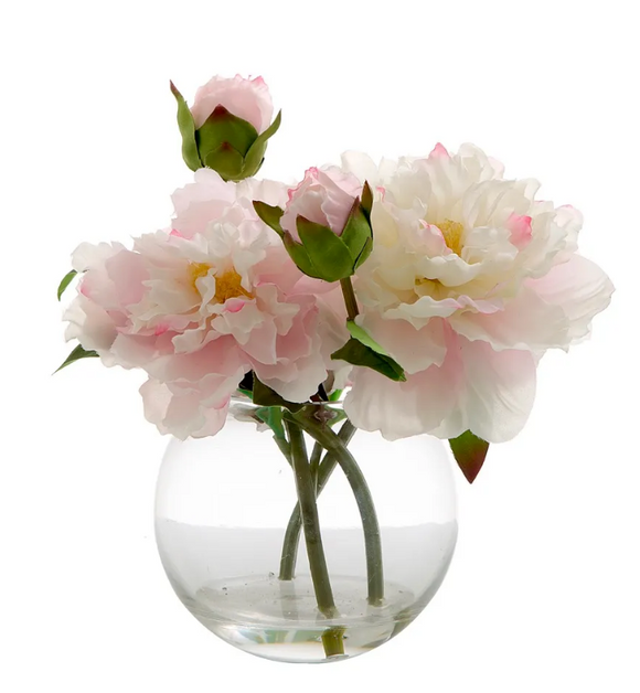 PEONY IN WATER BOWL