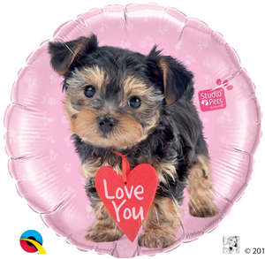 Pink Round Foil Balloon - Studio Pets Love You Terrier Dog