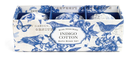 Bath Bomb Set of 3 - Indigo Cotton