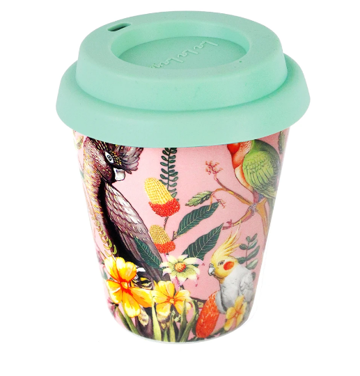 Double Wall Ceramic Coffee Cup - Floral Paradiso