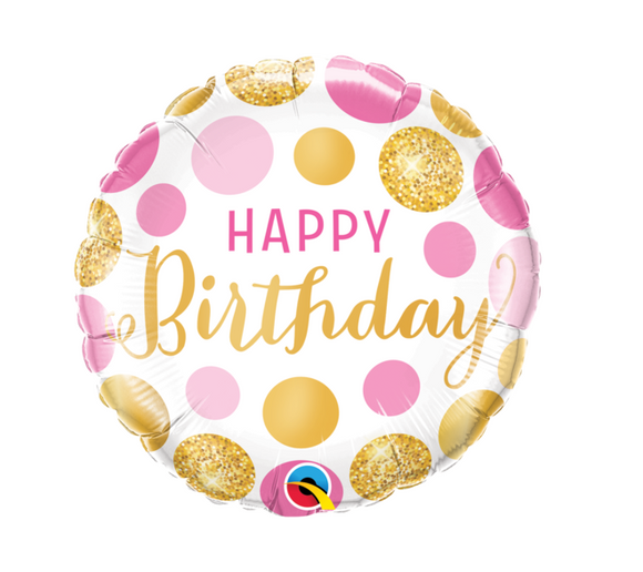 Happy Birthday Pink and Gold Foiled Balloon
