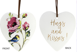Hugs and Kisses Ceramic Hanging Heart - Gifts2remember