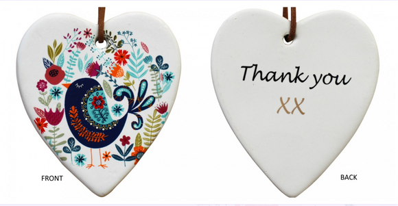 Thank You Ceramic Hanging Heart - Gifts2remember