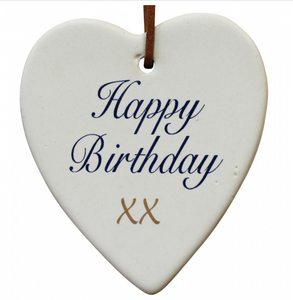 Happy Birthday Ceramic Hanging Heart - Gifts2remember