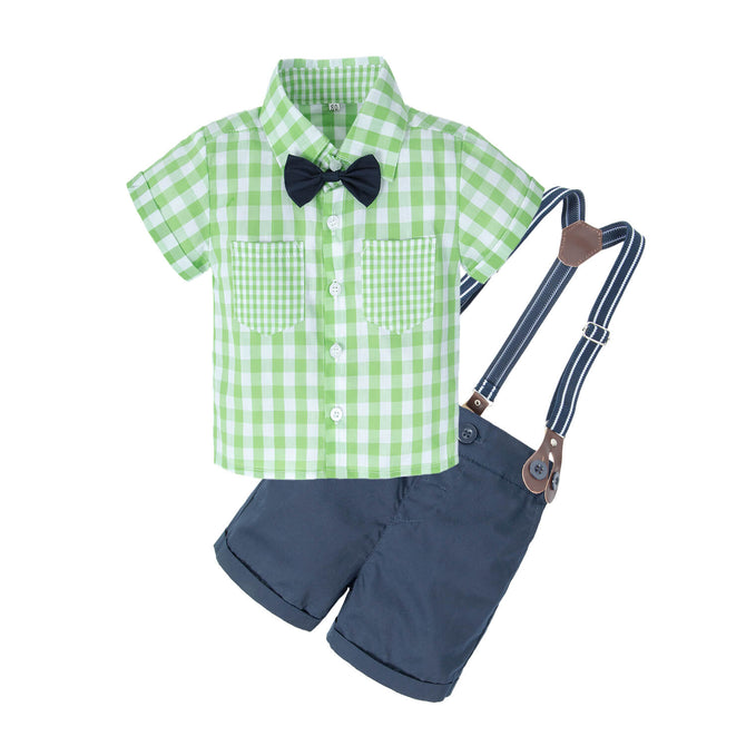 Baby Boys'2 Piece T-Shirt Suspender Shorts Clothing Set NA43