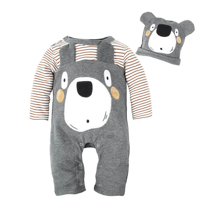 Baby Boys Animal Romper Pajama with Hat