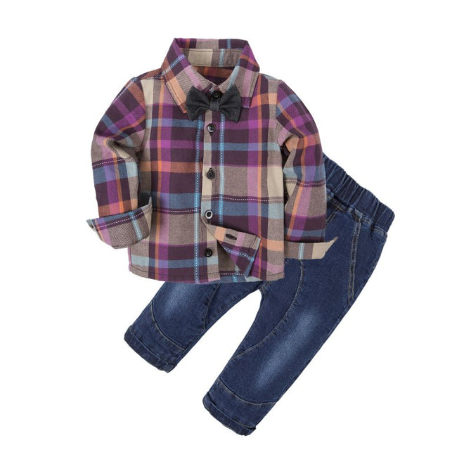 Baby Dress Shirt and Jeans Clothes Set