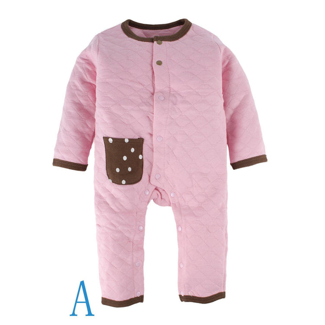 80339a7ff0e Baby Girls 1 Piece Snap Up Long Sleeve Pajama Romper With Pocket ...