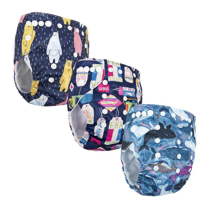 Baby Cloth Diaper Cover 3 Pack Adjustable Reusable PD-17