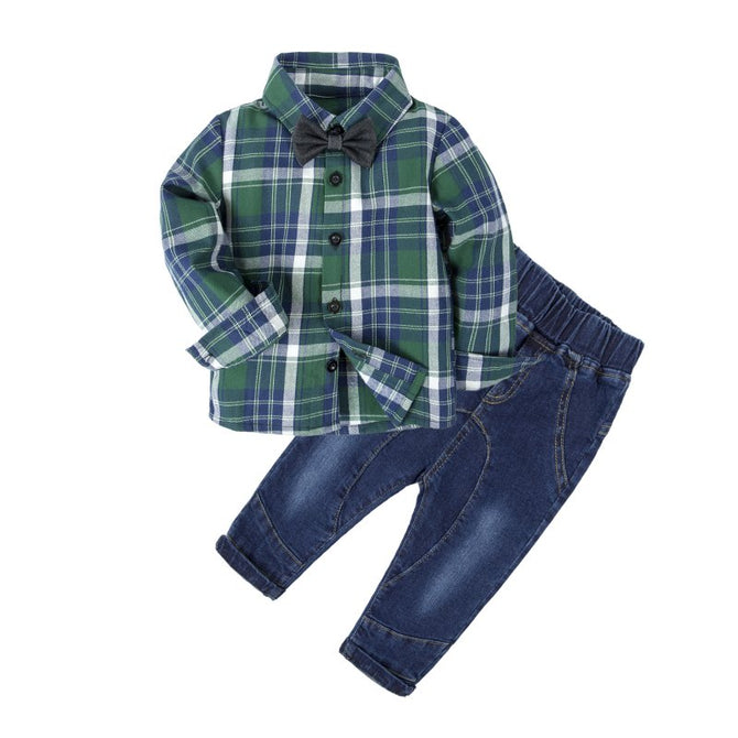 e6a94335b76c Baby Boy Long Sleeve Plaid Dress Shirt and Jeans Clothes Set – Agudan