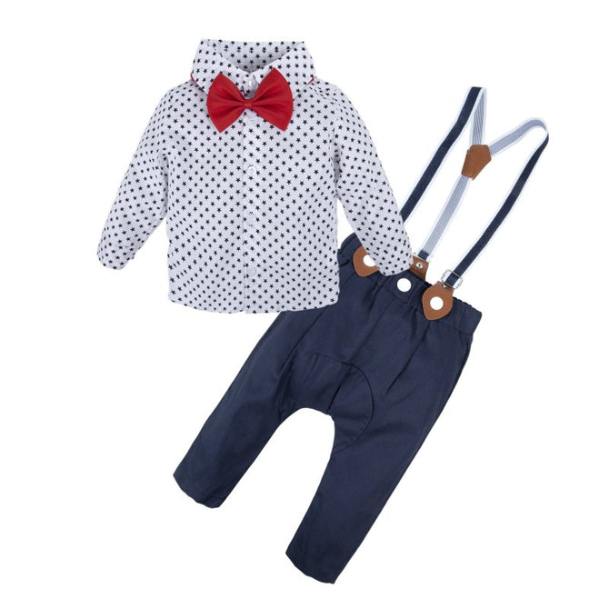 Baby Boys Dress Shirt Overalls Set