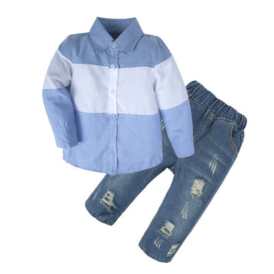 Baby Boys Shirt Jeans Clothing Set with Bowtie
