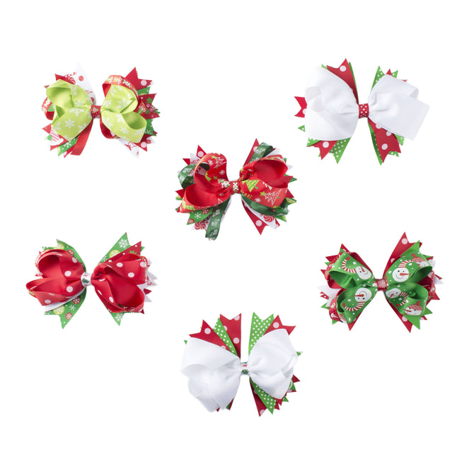 Christmas Hair Bows  Baby Girls Ribbon Grosgrain Assorted  Clips Sets for Infant Toddler Kids TH10