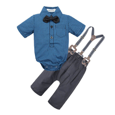 Baby Boy Trendy Buffalo Check Shirt Suspender Pants Set with Bowtie