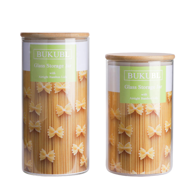 Glass Food Storage Jars Containers with Airtight Bamboo Lids Set of 3 Kitchen Glass Canisters For Coffee, Flour, Sugar, Candy, Cookie, Spice and More,32.5 OZ (950 ML)