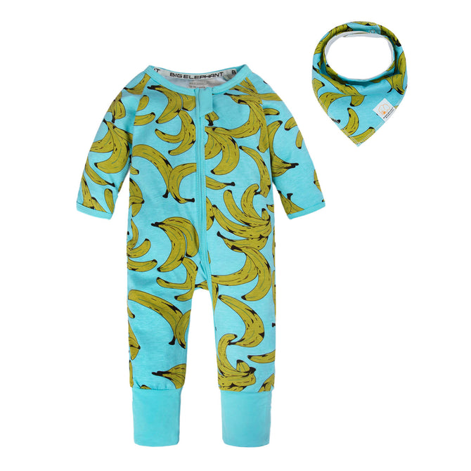 Unisex Long Sleeve Pajama Romper with Bib 0-24 Months