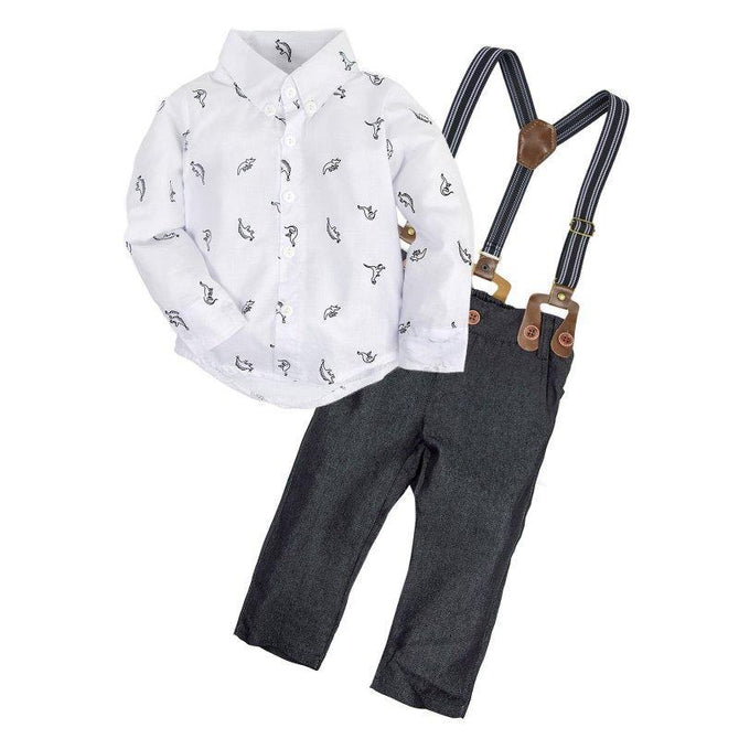 98f218c950b5 Baby Boys Long Sleeve Shirt and Suspender Shorts Clothes Set – Agudan