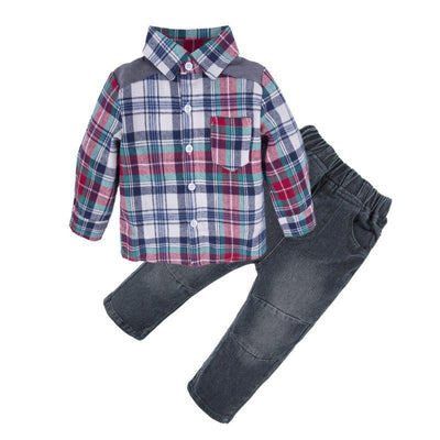 Baby Boys 2 Pieces Fashion Plaid Shirt