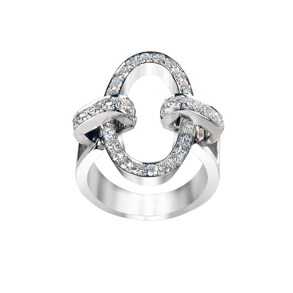 You&Me oval full pavè ring - Spallanzani Jewelry