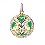 Believe Work Big Pendant with diamond border - Spallanzani Jewelry