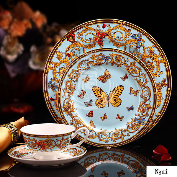 European luxurious butterfly design in-glaze decoration Bone China western dinnerware set steak plate coffee & Dinnerware \u2013 xafshop