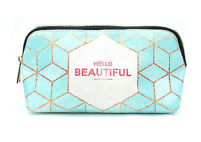 'Hello Beautiful' vegan leather make up bag