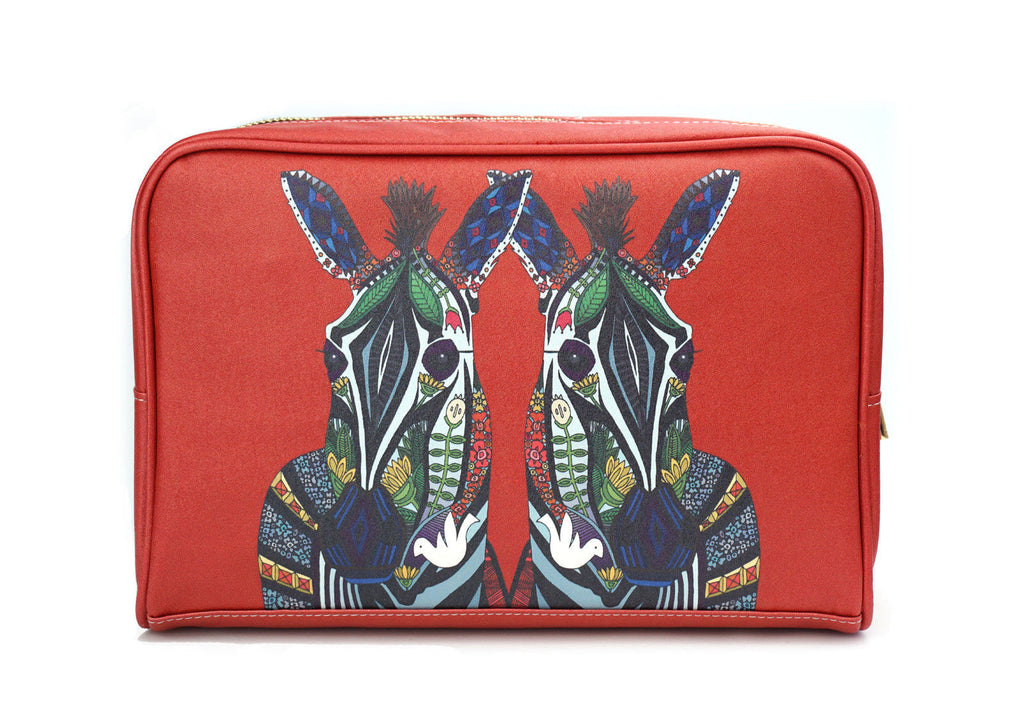 Zebra Love - Red wash bag with colorful print, made using vegan leather