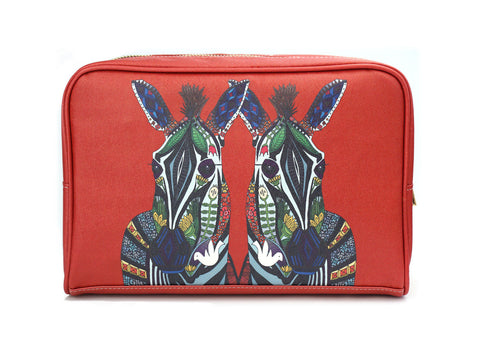 'Zebra Love' Artist Designed Vegan Leather Wash Bag, Wash Bag, Create&Case - createandcase