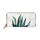 Agave Geometry - Stylish Womens Grey & Green Vegan Purse Wallet