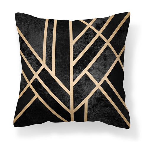 Stylish Black and Gold Geometric Cushion