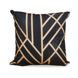 Art Deco Black - Modern Black & Gold Luxury Cotton Cushion