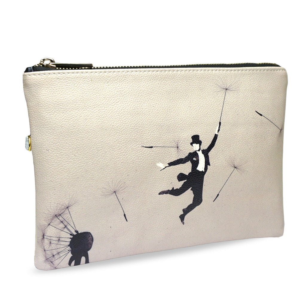 Create&Case 'Au Revoir' Dandelion Print Vegan Leather Clutch Bag By Artist Robert Farkas
