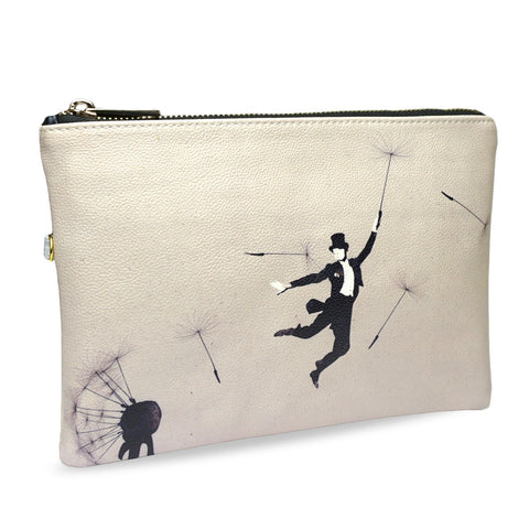 Au Revoir - Grey artistic & Creative Clutch with funny image