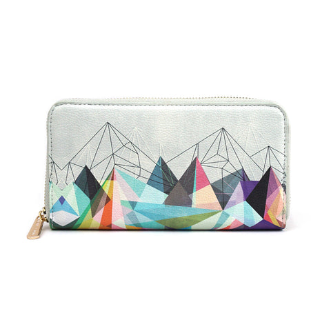 Colourflash 3 - Womens Grey Geometric Zip around Purse