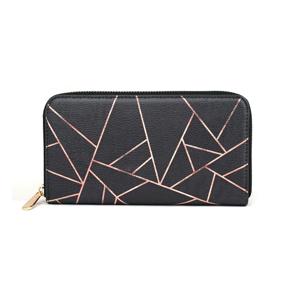 Velvet Black & Rose Gold - Luxury Black Vegan Leather Purse for Women from HETTY+SAM