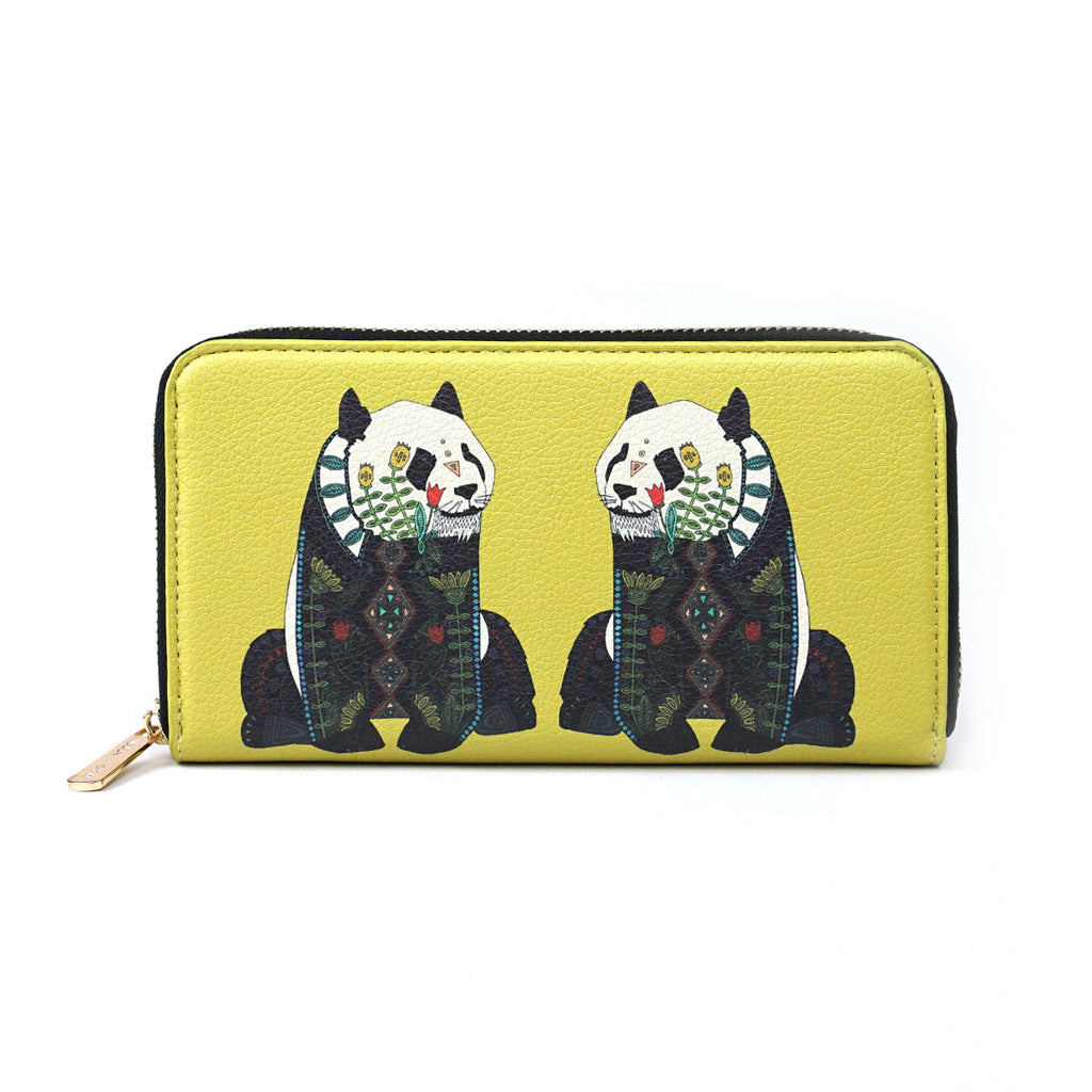Panda - Cute Yellow Vegan Leather Purse Wallet for Women