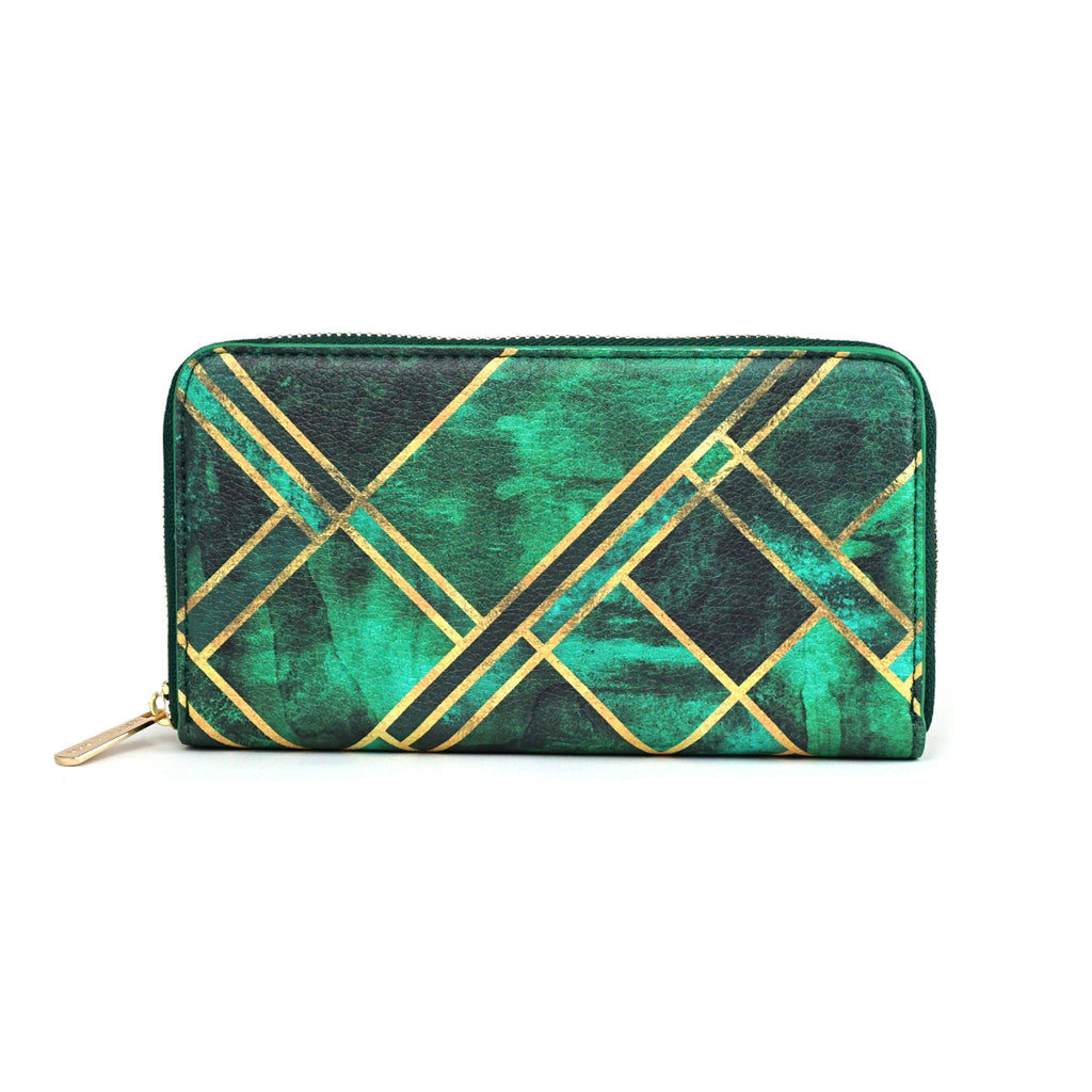 Emerald Blocks - Geometric Green Leather Purse for Women from HETTY+SAM