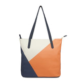 Back to Sail 2 - Womens Vegan Leather Tote in Tan & Navy