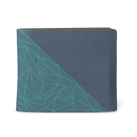 Vegan Leather Men's slim wallet in blue and turquoise