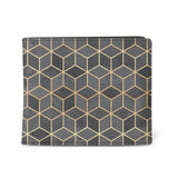 Black Cubes - Mens Geometric Black & Gold Vegan Wallet