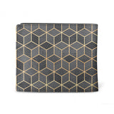 Black Cubes - Mens Geometric Black & Gold Luxury Wallet (Back)