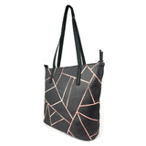 Velvet Black & Rose Gold - Large Vegan Leather Tote Bag for Women