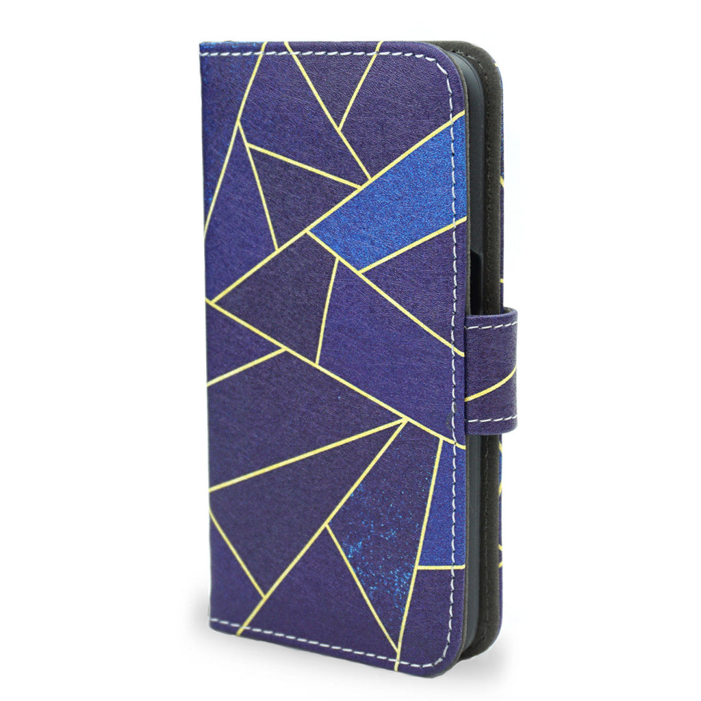Blue Stone Samsung Galaxy S7 blue leather wallet case, unique gift, S7 case, createandcase