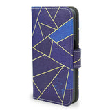 Blue Stone Samsung Galaxy S7 Edge blue leather wallet case, unique gift, S7 edge case, createandcase
